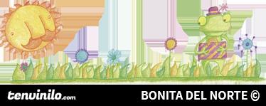TenStickers. Autocolante decorativo de ilustrações sapo sabichão. Um fantástico autocolante de ilustrações  ilustrando um sapo num campo, desfrutando de um dia ensolarado.