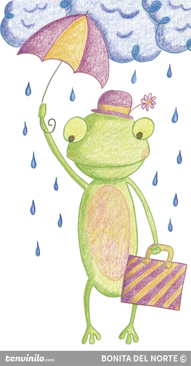 TenStickers. Frog with Umbrella Kids Sticker. Decorate your children's bedroom with this frog wall sticker holding an umbrella to avoid getting soaked by the rain.