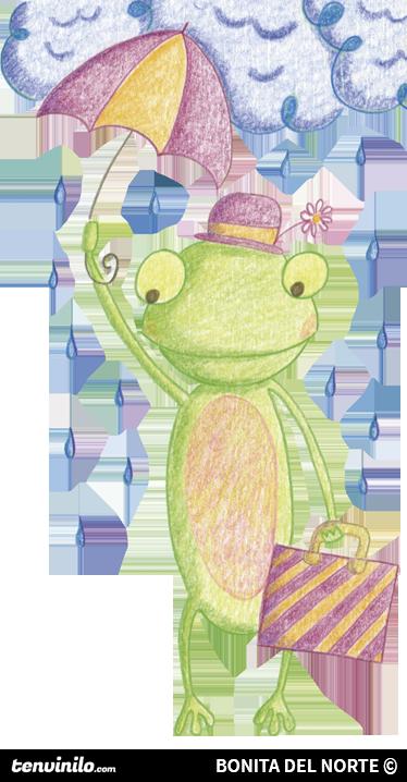 TenStickers. Adesivo bambini rana Ritita. Sticker decorativo che raffigura un simpatico ranocchio con ombrello e ventiquattrore. Un'illustrazione a pastello di Raquel Blázquez.