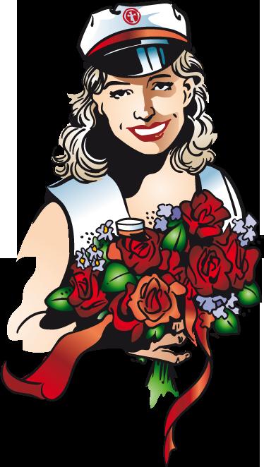 TenStickers. Boot bloemen bruid sticker. Muursticker van een prachtige bruid op een boot met een grote bos bloemen in haar handen! Ze heeft haar captains hoedje op en staat klaar voor haar bruiloft!