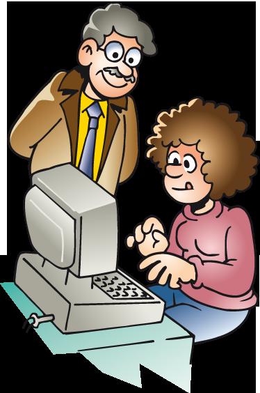 TenStickers. Büro Computer Aufkleber. Dekorativer Wandaufkleber - Illustration eines Lehrers der einer Schülerin oder Studentin hilft. Erhältlich in verschiedenen Farben.
