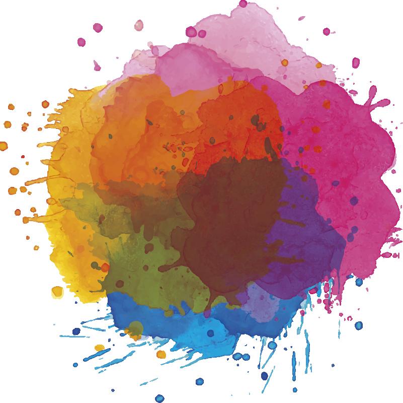 TenVinilo. Vinilo decorativo salpicaduras color. Vinilo abstracto de salpicaduras de color de forma circular que crean una explosión alrededor delo círculo. Un diseño de colores vivos y colores pastel formado por grandes gotas que darán color a vuestra pared y alegrarán vuestro hogar.