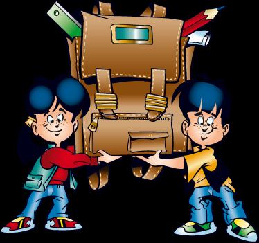 TenVinilo. Vinilo infantil de vuelta al cole. Pareja de niños sonrientes sosteniendo una colosal mochila. Adhesivo especial para los alumnos esmerados.