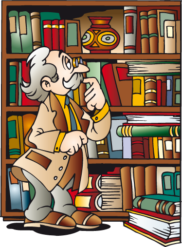 TenStickers. Grandad's Library Children's Sticker. A colourful cartoon vinyl showing a friendly old bespectacled man surveying his books lovingly.