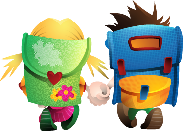 TenStickers. I Love School Sticker. A great kids decal illustrating two children going to school with their backpacks. Brilliant school wall sticker to personalise your children's room.