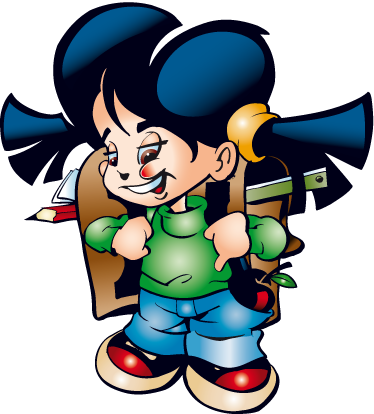 TenStickers. Adesivo bambini scolaretta. Sticker decorativo che raffigura una simpatica bambina che va scuola con il suo zainetto in spalla. Ideale per decorare la cameretta dei piccoli.