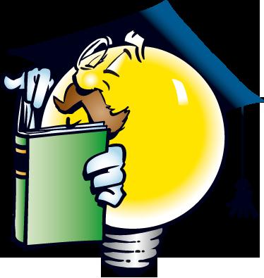 TenStickers. Adesivo bambini maestro lampadina. Simpatico sticker decorativo che raffigura un professore di aria distinta, con baffi e monocolo, mentre legge un libro.
