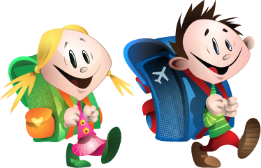 TenStickers. Young Students Wall Sticker. A great kids decal illustrating two happy children going to school! Great educational sticker to motivate the little ones to go to school.