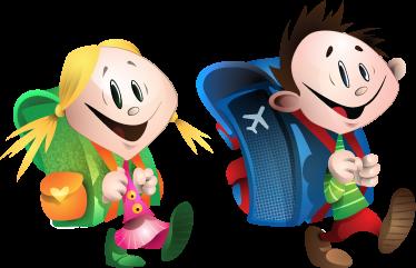 TenStickers. Schulkinder Paar Aufkleber. Dieses Wandtattoo der beiden glücklichen Schulkinder kann Ihre Kinder motivieren, zur Schule zu gehen.