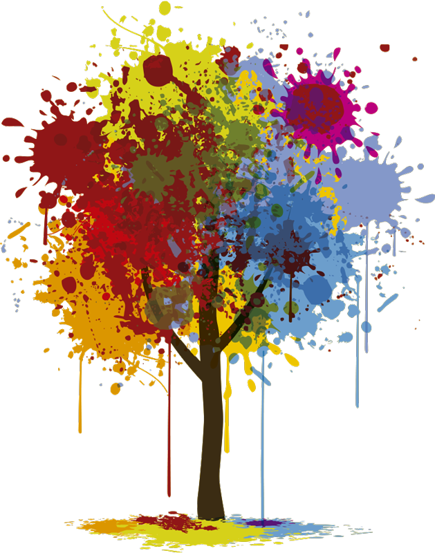 TenStickers. Paint Splash Tree Wall Sticker. Original tree wall sticker design of a tree trunk with multicoloured paint splats making up the leaves, from our wall art collection, available in a wide range of sizes.