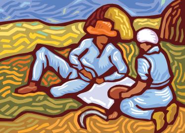 TenStickers. 梵高风格墙贴. 带有梵高风格设计的领域中的两个人的插图的墙贴纸。