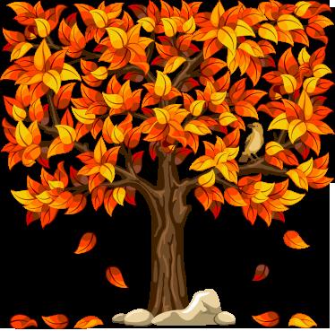 TenVinilo. Vinilo decorativo vegetación otoño. Bonita ilustración adhesiva de un árbol cuadrado de hoja caduca.