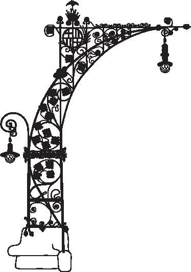 Tenstickers. Streetlight gaudí barcelona koristetarra. Barcelona-seinätarra, jossa on vaikuttava muotoilu paseo de gracian modernistisista katuvaloista.