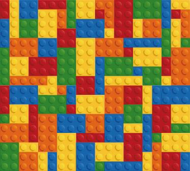 """TenStickers. Sticker frise Lego. Plaque adhésive représentant les célèbres briques de couleur de la marque """"Lego"""". Parfait pour décorer la chambre des enfants de tout âge !"""