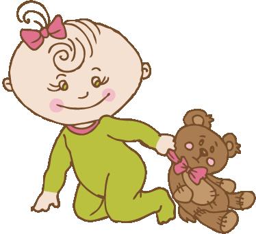 TenVinilo. Vinilo infantil bebé con su peluche. Divertido adhesivo de una niña pequeña arrastrando su osito.