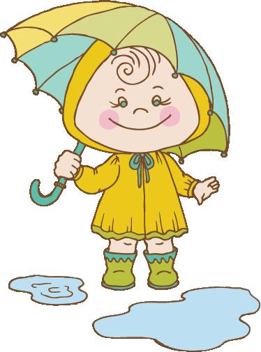 TenVinilo. Vinilo infantil bebe día de lluvia. Adhesivo de una niña con chubasquero amarillo y paraguas pasándoselo pipa saltando charcos.