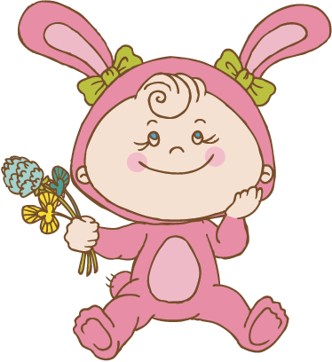 TenStickers. Pink Bunny Costume Kids Sticker. A design illustrating a little girl wearing a pink bunny costume and holding flowers. Perfect design from our collection of rabbit wall stickers.