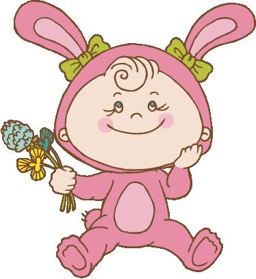 Tenstickers. Vaaleanpunaisen pupun pukulasten tarra. Malli, joka kuvaa pikkutyttöä, jolla on vaaleanpunainen pupu puku ja jolla on kukkia. Täydellinen muotoilu kanin seinä tarroista.