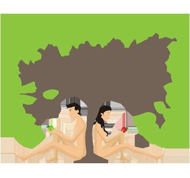 TenStickers. Adam und Eva Aufkleber. Adam und Eva mit dem Apfel im Paradies. Dieses ausgefallene Wandtattoo macht Ihre Wand zum Hingucker.