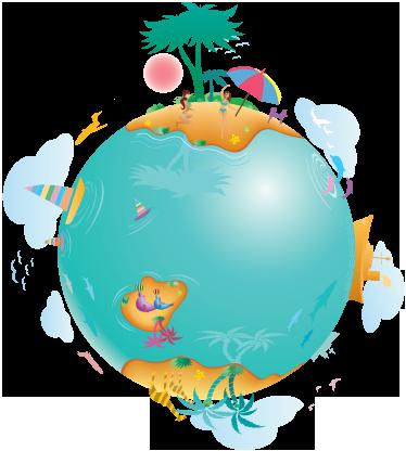 TenVinilo. Vinilo decorativo planeta vivo. Navega, visita islas exóticas con chicas bailando, observa la fauna de nuestra tierra con este vinilo.