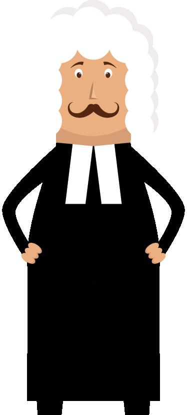 TENSTICKERS. 裁判官の壁のステッカー. コートを着た裁判官が制服を着ている様子を示す楽しいウォールステッカー。あなたの子供の部屋を飾るための素晴らしい裁判官デカール。