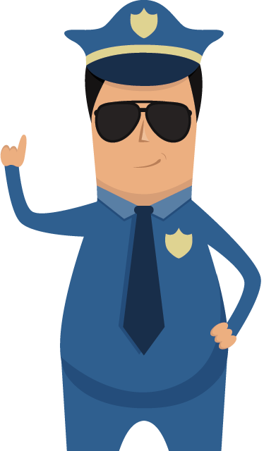 TenStickers. Police Wall Sticker. A home wall sticker of a police man in uniform wearing sun glasses. A great police decal to decorate the play area of the little ones.