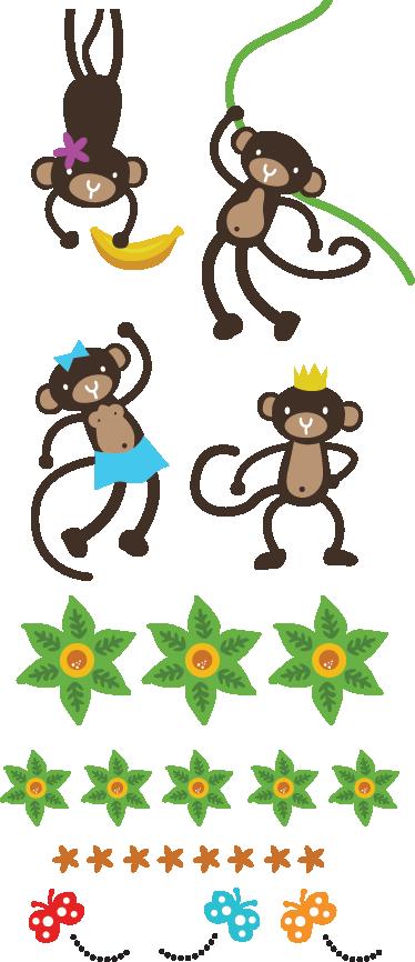 TenVinilo. Sticker decorativo colección monos. Vinilo decorativo infantil formado por una colección de monos que están jugando y balanceándose por la peligrosa selva.