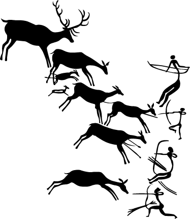 TenStickers. Prehistoric Story Art Wall Sticker. Prehistoric cave art sticker for those who love ancient history. The history wall decal features cavemen hunting deer. Available in various sizes and colours