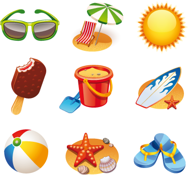TenStickers. Summery Items Sticker. Collection of stickers with various summery elements such as sunglasses, flip flips and a beach ball.
