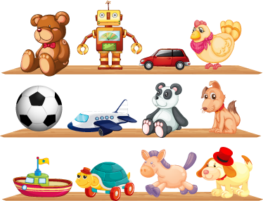TenStickers. Toys and Shelves Kids Decal. Decorate your child's room with these cute wall stickers set that shows different toys on the shelves.