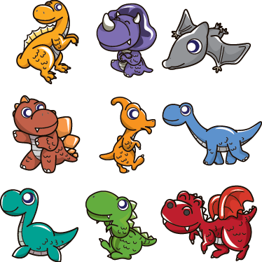 TenStickers. Baby Dinosaurs Decal Collection. Kids Wall Stickers - Colourful collection of cute baby dinosaur characters. Ideal for decorating you childs nursery, bedroom and play areas.