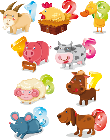 TenStickers. Animals and Numbers Kids Sticker. A creative design from our collection of number wall stickers that will help children learn to count in a simple yet amusing way.