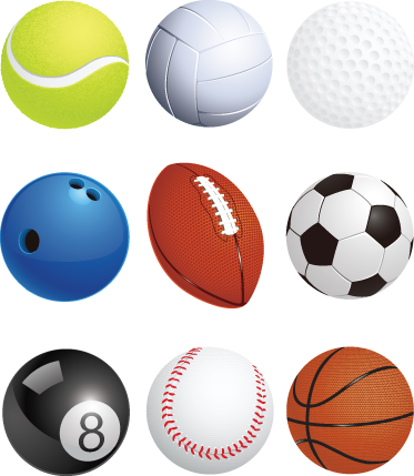 TenStickers. Sport Balls Wall Sticker Set. Sports Stickers - Sticker collection of various sport balls. This colourful sticker set includes a tennis ball, bowling ball, football, snooker ball, baseball, basketball and more! Set the mood for team sports and exercise with this excellent teens design.