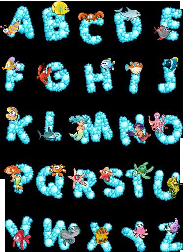 TenVinilo. Vinilo infantil abecedario océano. Espectacular colección adhesiva de letras espumosas y animales acuáticos a su alrededor.