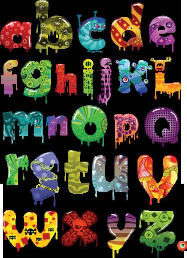 TenStickers. Vinil decorativo ABC monstros. Vinil decorativo do alfabeto com ilustração com efeito terrorífico de monstros . Autocolante do alfabeto com vários monstros com várias cores.