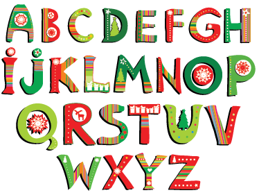 TenStickers. Christmas Alphabet Decorative Sticker. Decorate your child's room with this great Christmas alphabet decal as a wall decoration!