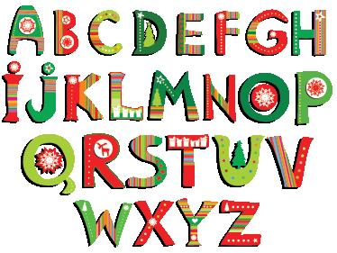 Alphabet Noel sticker alphabet de noël - tenstickers