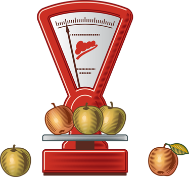 TenStickers. Apple Scales Kitchen Sticker. Kitchen Stickers-Illustration of apples being weighed on a scale. Ideal for adding a touch of colour to your kitchen. Decorate your kitchen walls