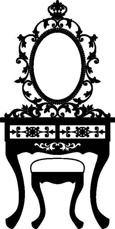 TenVinilo. Vinilo decorativo tocador decimonónico. Espectacular adhesivo con un mobiliario clásico formado por espejo, silla sin resplado y mesita.