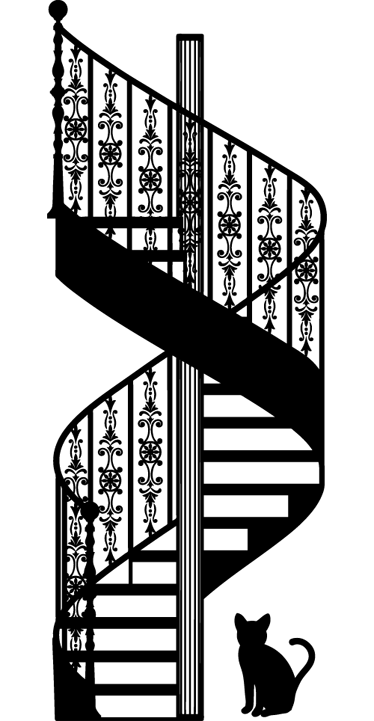 TenStickers. Romantična naljepnica na zidu. Romantična zidna naljepnica koja ilustrira stubište s otmjenim uzorcima i malom mačkom. Jednobojni naljepnica za one koji traže elegantan dizajn.