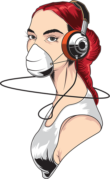 TenStickers. Love Music Girl Decal. Music - Original drawing illustration of a young girl listening to music through her headphones. Design available in various sizes and in 50 colours.