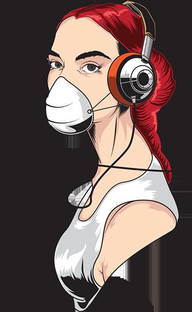 TenStickers. Sticker meisje mondkap en koptelefoon. Muursticker van een meisje met een mondkapje op en een koptelefoon op haar hoofd. Verkrijgbaar in verschillende afmetingen. Ervaren ontwerpteam.