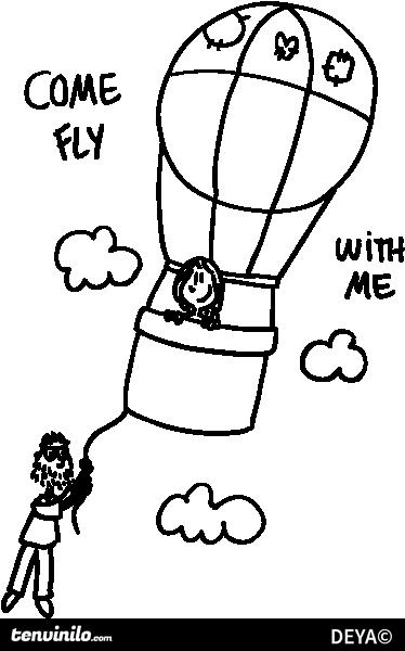 TenStickers. Adesivo murale vola con me. Una felice coppietta in viaggio su un pallone aerostatico, accompagnata dalle parole come fly with me. Uno sticker decorativo basato su un disegno originale di Deia.