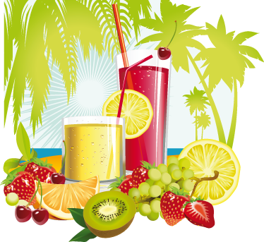 TenStickers. Summer Tropical Cocktail Decal. Tropical illustration of a couple of summer cocktails made from sweet vibrant and colourful fruits against an exotic background with palm trees. Decorate walls, windows, furniture, appliances and more.