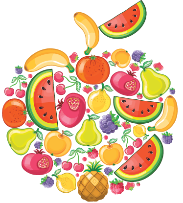 TenStickers. Fruit Collage Wall Sticker. Kitchen Stickers - An apple shape collage consisting of watermelons, bananas, pears, pomegranates, pineapples. Vibrant and fruit wall sticker for bringing some colour to the walls of your kitchen to create a lovely atmosphere for eating food.