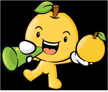 TenVinilo. Vinilo decorativo dibujo fruta amarilla. Divertida pegatina de una manzana gritando a viva voz las ventajas de una comida sana.