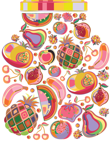TenStickers. Colourful Food Art Sticker. Art and food merged together into this colourful decorative sticker.