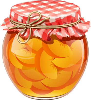 TenStickers. Nalepka stene peach jar. Nalepka s sadnimi stenami, ki ilustrira stekleno kozarcico, dobro v obliki kvačkane tkanine in breskev v sirupu. Odlična kuhinja decal, ki bo ustvarila prijetno vzdušje in bo vaši kuhinji zelo eleganten videz!