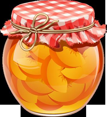 TenStickers. 桃罐壁贴纸. 一个水果墙贴,说明了一个玻璃罐,上面摆着方形布和糖浆中的桃子。伟大的厨房贴纸,营造出愉快的氛围,让您的厨房非常时尚!