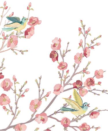 TenVinilo. Vinilo decorativo aves acuarela. Lindo adhesivo con motivos florales y dos cantarinas aves en las ramas.